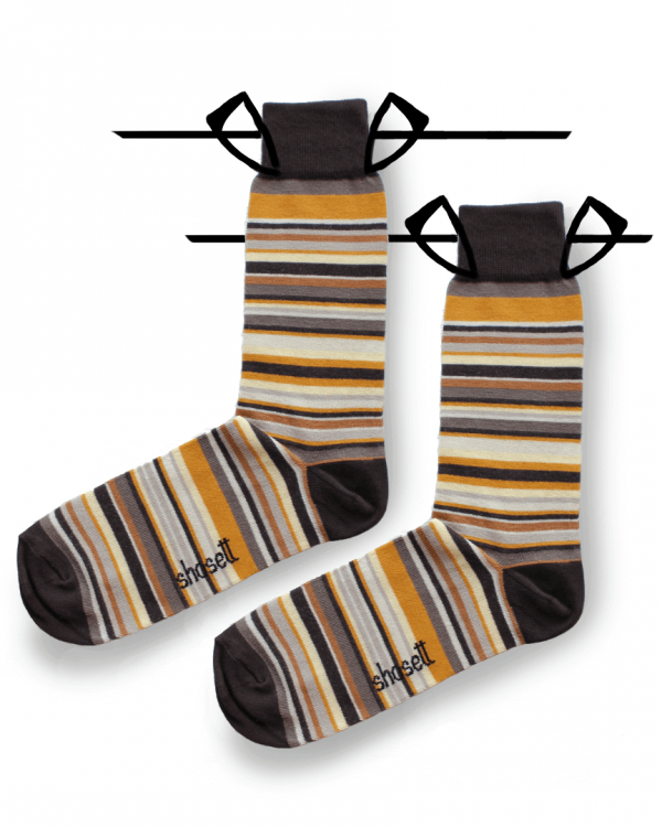 brown socks striped