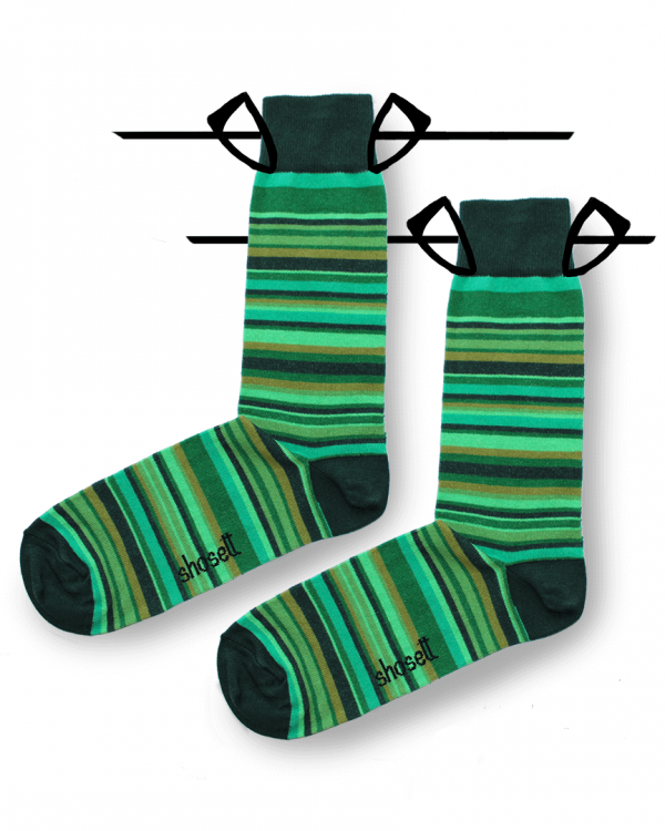 green socks striped