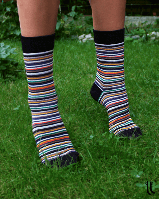 coloured striped socks