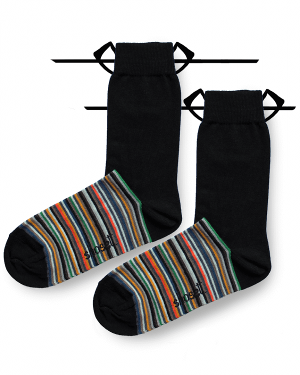 half-striped socks